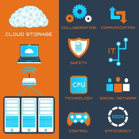 flat icons of cloud storage and computer server Vector