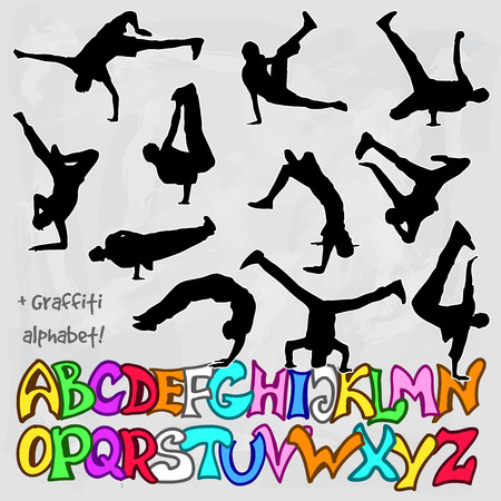 vector silhouettes set of break dancers and english alphabet in graffiti style Illustration