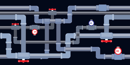 vector seamless background of pipeline with taps and valves
