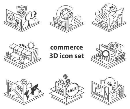 commerce: vector set of 3D online commerce icons