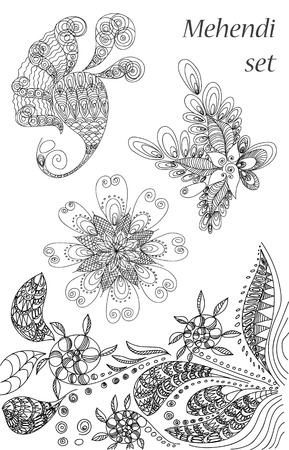 mendie: vector set of  abstract pattern of a tattoo henna Illustration