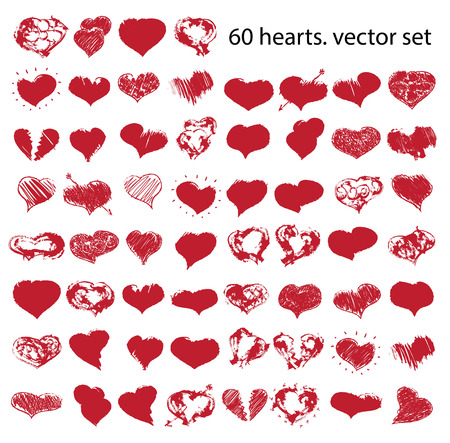 heart symbol: vector doodle hearts set  for happy valentines day or wedding