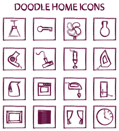 iron curtains: doodle icon set of household appliances and accessories for home