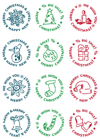 winter holidays: winter holidays set - labels of merry christmas and happy new year