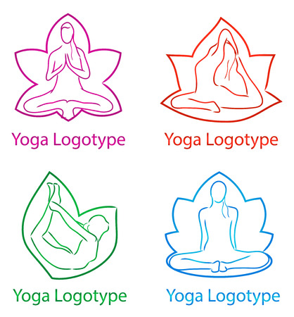 asanas: vector illustration of isolated yoga set