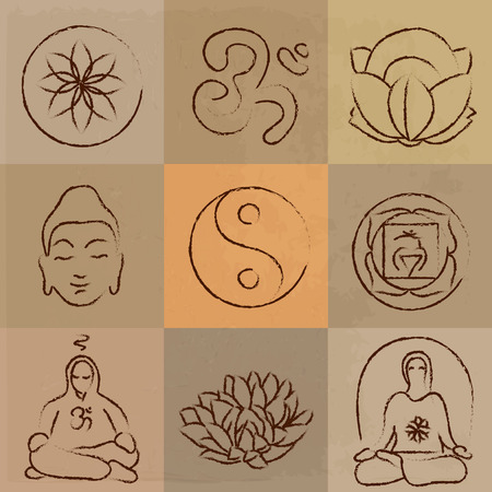 lotus position: vector yoga set - Buddhism, meditation, signs and symbols