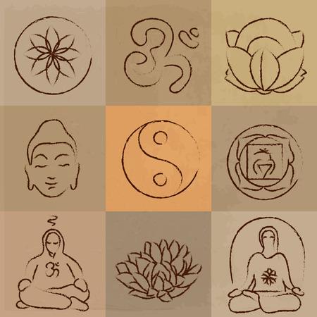 vector yoga set - Buddhism, meditation, signs and symbols