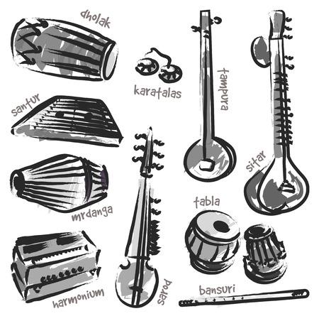 instrumentos musicales: Instrumentos tradicionales indios aislados. Vector conjunto para la cartelera de m�sica