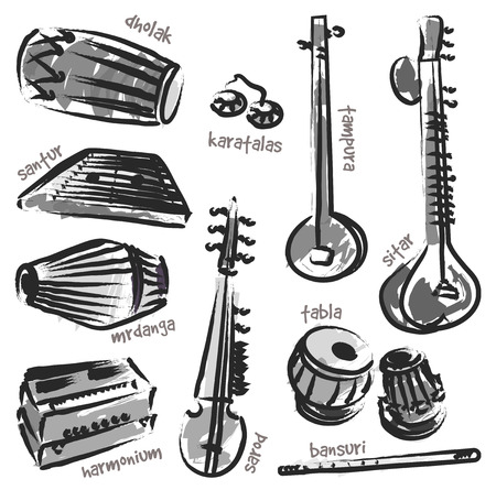 instruments: Isolated traditional indian instruments. Vector set for music billboard