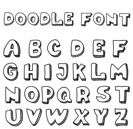 inaccurate: English alphabet in doodle style for design