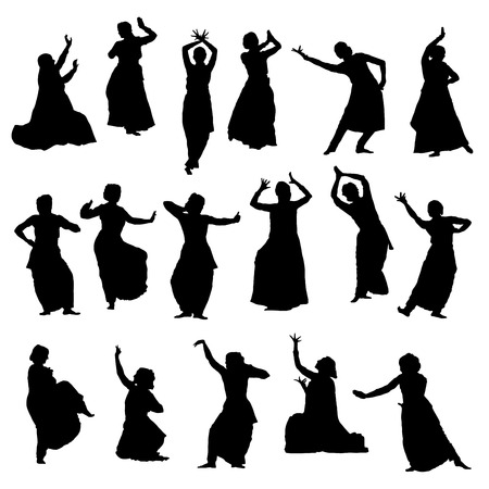 kathak: Isolated silhouettes of indian dancers. Vector set