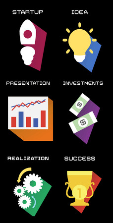 realization: business process in flat style. Illustration