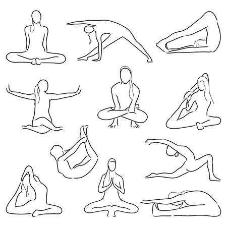 asanas: Isolated yoga position - asanas and stretching. Vector set Illustration