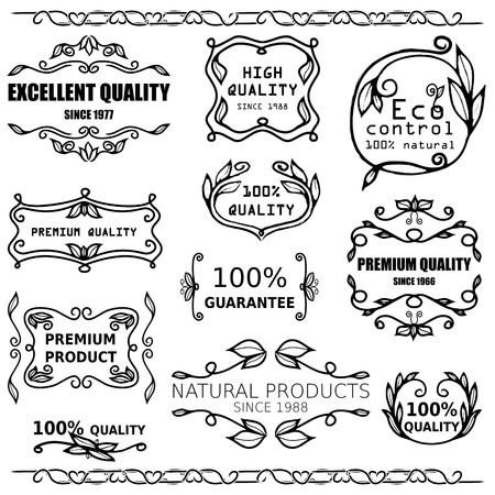 doodle frame: Vector set of vintage badges and monogram for packaging design. Illustration