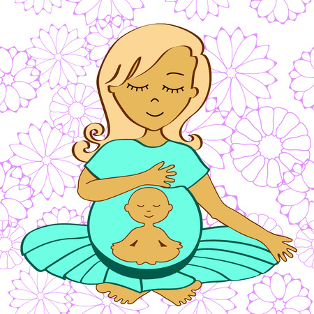 meditates: meditating pregnant woman with small meditating child in a stomach