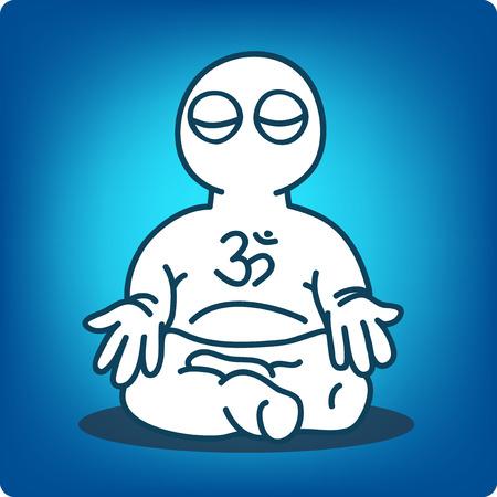 meditates: Man in meditation on blue background.  Illustration