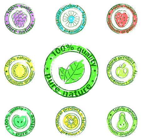 vector icon set - labels of natural products