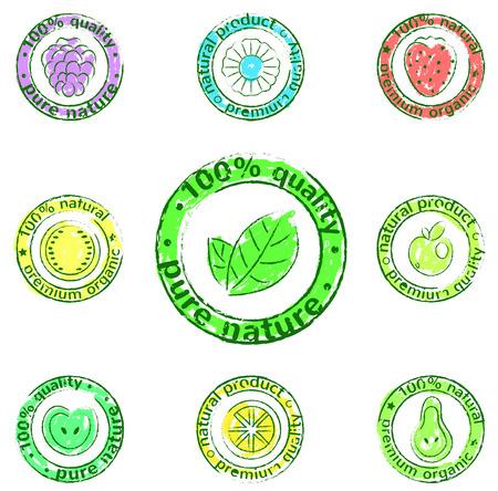productos naturales: vector conjunto de iconos - etiquetas de los productos naturales Vectores