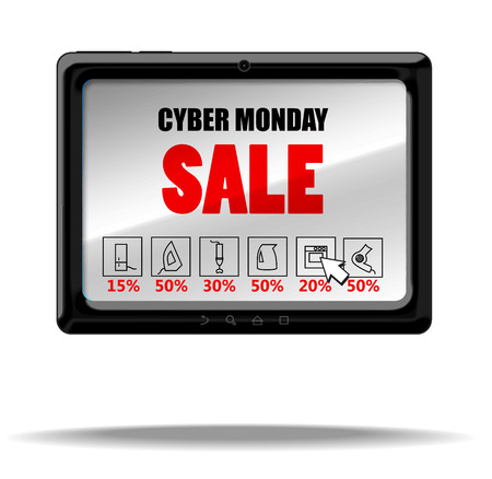 android tablet: Cyber monday sale. Vector tablet PC with text