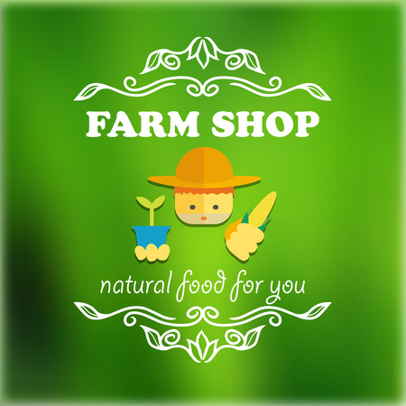 an agronomist: Vintage farm shop signage. Vector illustration for design