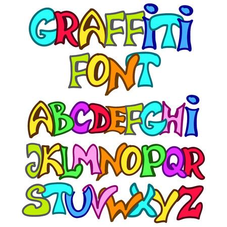 graffiti alphabet: English alphabet in graffiti style. Vector set Illustration