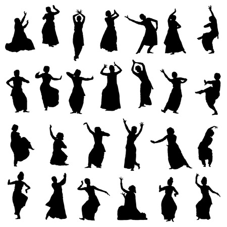 kuchipudi: Isolated silhouettes of indian dancers. Vector set