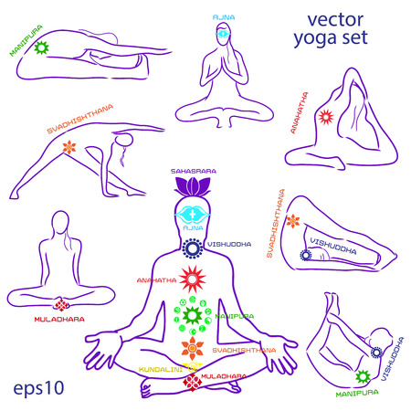 Influence of asanas for chakras. Vector set