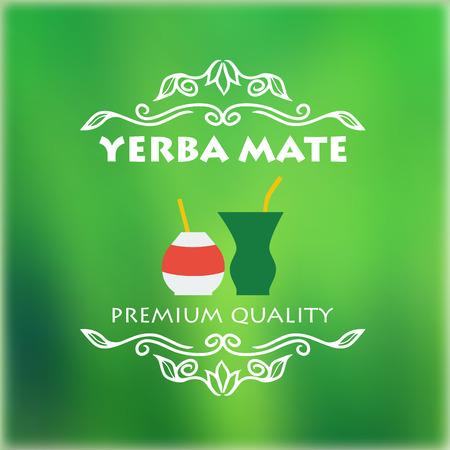 yerba mate: Arte de la etiqueta de la yerba mate. Ilustraci�n del vector para el dise�o