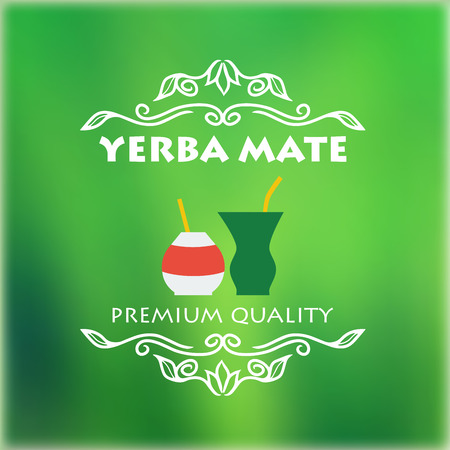 Vintage yerba mate label. Vector illustration for design