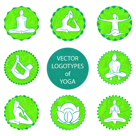 asanas: vector yoga logo set - position and meditation in round frame