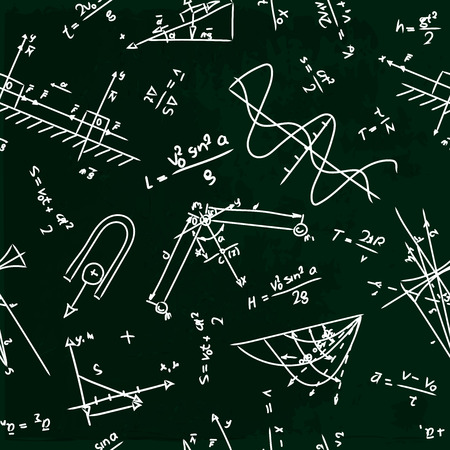 physics: seamless pattern with physics formulas on school board Illustration