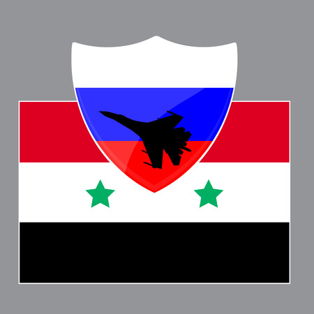 military aircraft: Russia is defending Syria from ISIS using military aircraft. Vector illustration Illustration