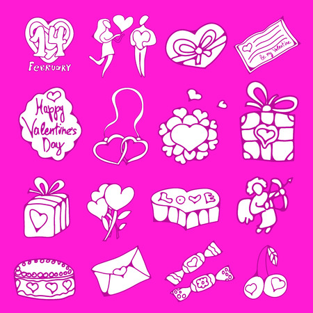 st  valentine's day: vector doodle icons set for St. Valentines Day Illustration