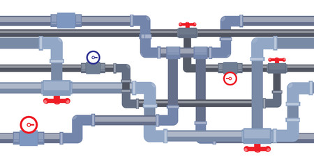 gas pipeline: vector seamless background of pipeline with taps and valves