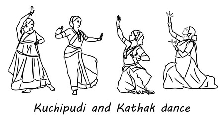 hasta: Isolated contour silhouettes indian dancers. Vector set