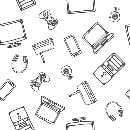 spare part: vector seamless pattern with computer icons for design