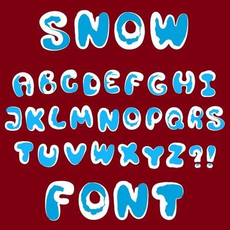 roundish: Christmas snow alphabet for design. Vector set