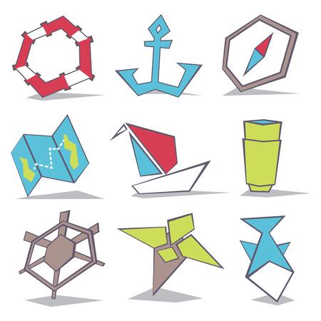 logo poisson: Sea travel icons set. Stock vector illustration