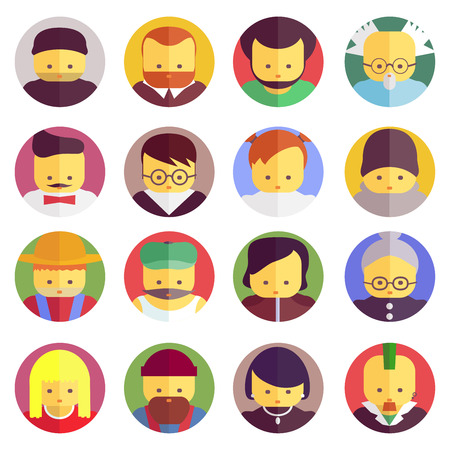 elderly people: Flat face icons. Vector set. Stock illustration Illustration