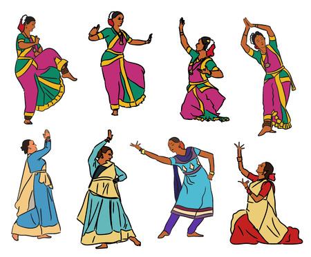 Isolated indian Kuchipudi and Kathak dancers. Vector set