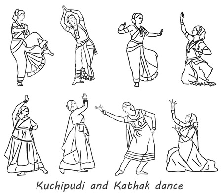 kathak: Isolated contour silhouettes indian dancers. Vector set