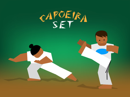 fighting: Capoeira fighting. Vector flat illustration for design
