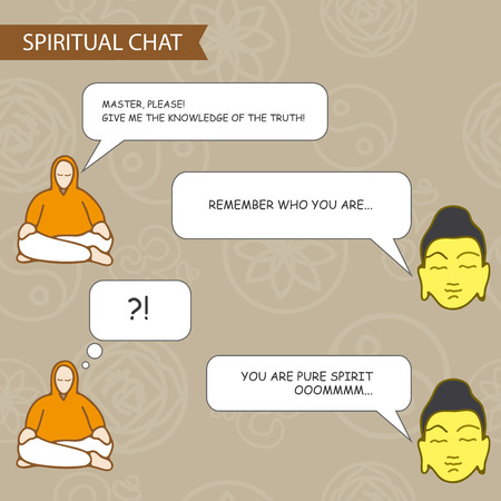 enlightenment: Disciple and spiritual master - chat template. Vector illustration Illustration