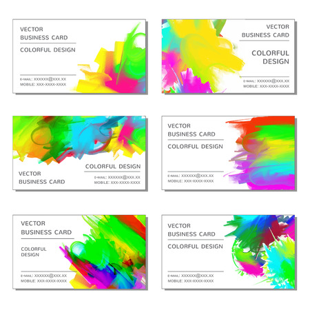 blots: business cards with bright colored blots. Vector set Illustration