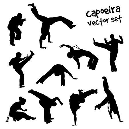 silueta masculina: Siluetas aislados de lucha capoeira. El conjunto del vector para el diseño