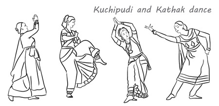 actress girl: Isolated contour silhouettes indian dancers. Vector set