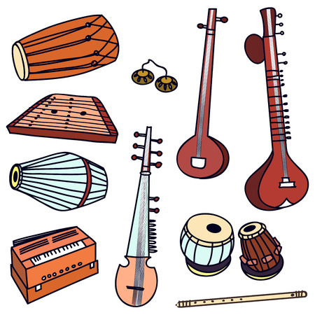 Isolated traditional indian instruments. Vector set for music billboard