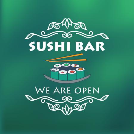 signage: Vintage sushi bar signage. Vector illustration for design