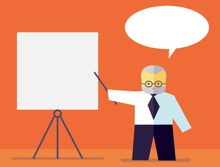 teorema: El profesor explica conferencia en la pizarra. Vector plana. Ilustración