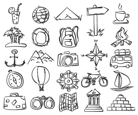 rosa dei venti: Icone di corsa impostate. Vector Doodle schizzo. D'Illustrazione per la progettazione